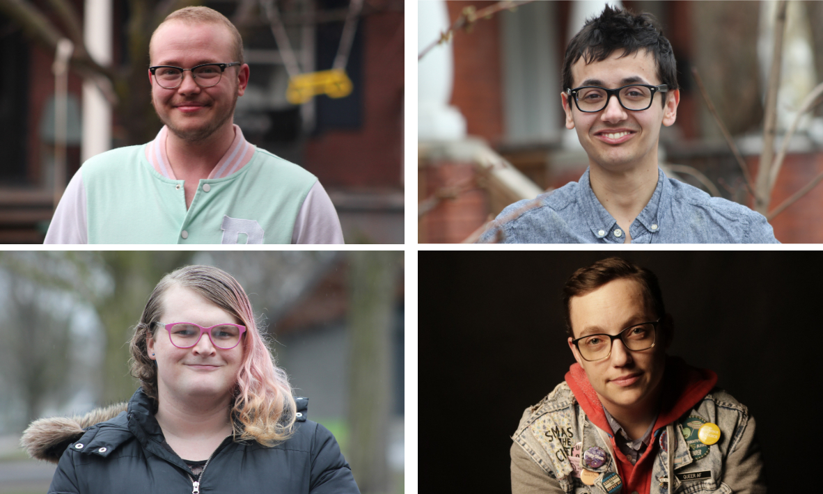A collage of four photos of young people looking at the camera.
